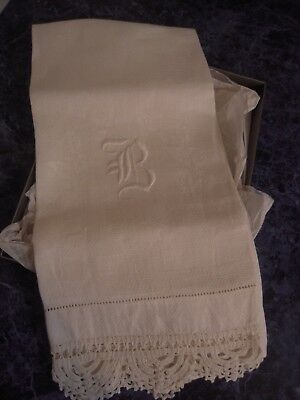 Antique Hand Stitched Heirloom White Linen Hand Towel Embroidered B Crochet Edge