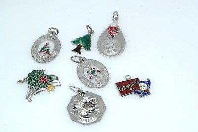 7pc 1950's 60's Vintage Sterling Silver Christmas Charm Lot Enamel Santa Merry