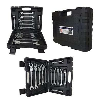 12pcs Professional Flexible Combination Spanners Ratchet Wrench Tool Set Case Ne
