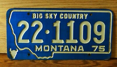 1975 Montana License Plate White Letters on Blue 22- Bighorn County