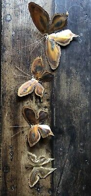 Vintage Antique Metal Copper Mid Century Butterfly Midcentury Wall Hangings 4
