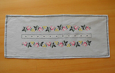 vintage cross-stitch hand-embroidered table runner in blue