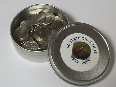 All 50 State Quarters in Metal Storage Case - COMPLETE STATE SET