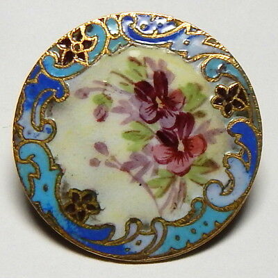 """STUNNING ANTIQUE 1 1/8"""" CHAMPLEVE ENAMEL GILT BRASS BUTTON w/HAND PAINTED POSIES"""