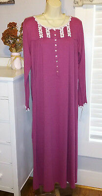 5bf29adc18 NWT Eileen West Nightgown Small S Muted Heather Red Gown NEW Super Soft $70