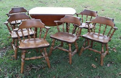 Heywood Wakefield Drop Leaf Dining Table w/ 6x Colonial S Bent & Bros Chairs