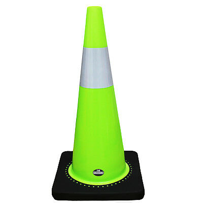 "RK Safety 28"" Lime Traffic PVC Cones w/ with 6"" Reflective Collar Black Base"