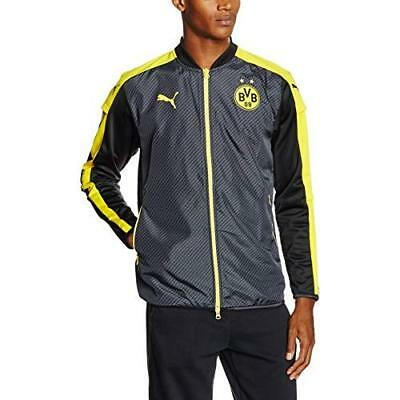 Puma BVB Cup Stadium Jacket Mens Black/Cyber Yellow Size: L (Manufacturer's Size