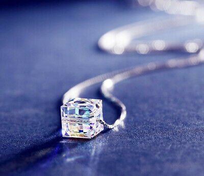 Crystal Square Pendant 925 Sterling Silver Necklace Chain Womens Jewellery Gifts