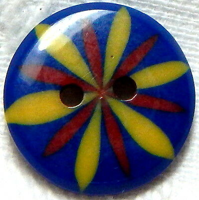 "Rare 1930's French Royal Blue, Red & Yellow Celluloid ""cookie"" Button"