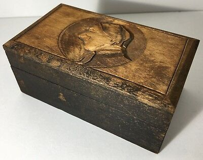 Vintage Hinged Wooden Box With Carved Image Of Face Nun Bishop