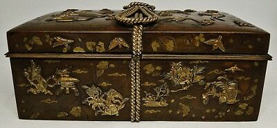Antique Superb Elaborate Japanese Bronze & Mixed Metal Covered Box Meiji 1880