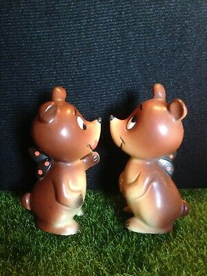 Vintage Anthropomorphic Fairy Bear Salt and Pepper Shakers