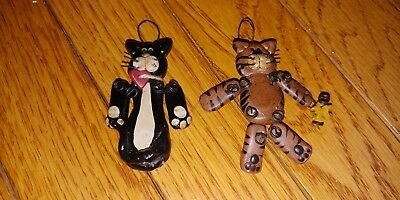 Whimsical Wood Cat Christmas ornaments - set of 2