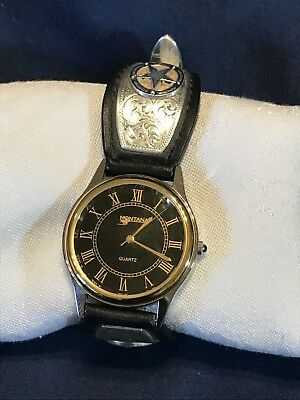 Montana Silversmith Mens Watch Texas Star Leather Black Face Buckle Working NOS