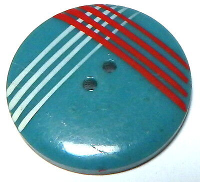 "NEAT 1940'S FRENCH TEAL BLUE CELLULOID BUTTON w/PAINTED ""PLAID"""