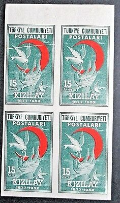 Turkey 1952  75th Anniv of Red Cross Society IMPERF block of 4. See Details.