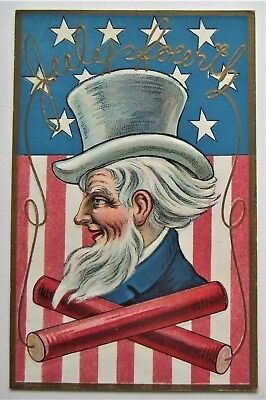 Stars & Stripes July 4th UNCLE SAM Red Firecrackers Embossed Gold Postcard