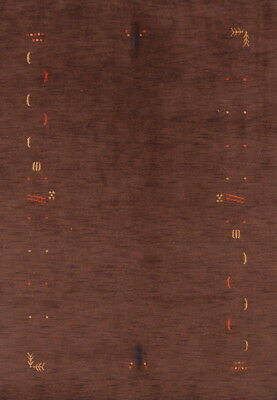 """Abstract Hand Knotted Modern Brown 6x8 Gabbeh Oriental Area Rug 7' 9"""" x 5' 7"""""""