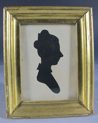 Antique 19th C Hollow Cut Silhouette Lady Profile Right Folk Art Portrait 6 yqz