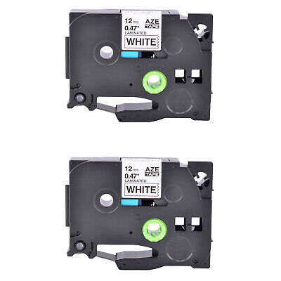 2PK TZ231 Black on White Label Tape Laminated for Brother P-Touch PT-H110 1/2""