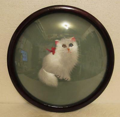 Vintage Silk Embroidered Cat Feline Picture Double Domed Glass Hand Embroidery