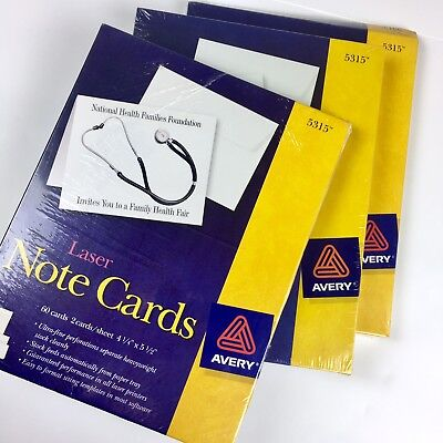 """Avery Note Card White 5135 Laser Print 4.25""""x5.5"""" 60/box Lot of 3 180 cards"""