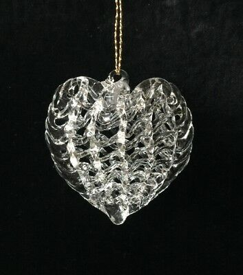 Hand Blown Clear Glass Heart Christmas Ornament