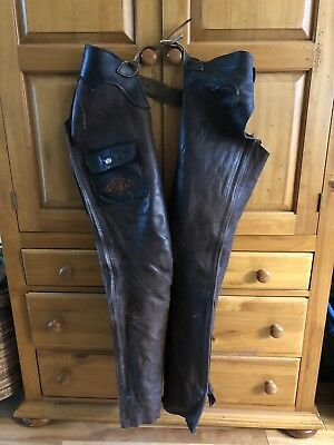 Vintage  Brown Leather Motorcyle Chaps Belted Riding Biker 32 Custom