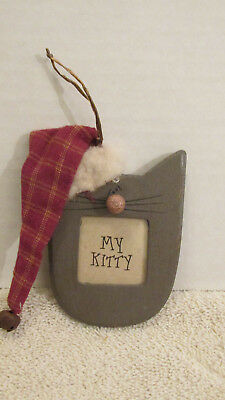 My Kitty Cat Picture Frame Ornament~Primitave look Wood~Gray Brown 3.5""