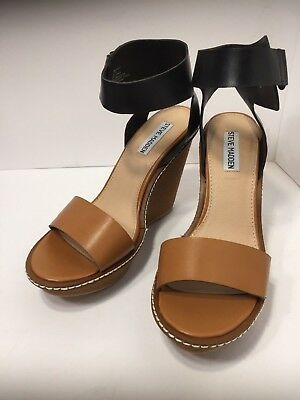 e494be8832bb Steve Madden Wedge Sandals Shoes Korkey Women Cognac Size 8.5 New in Box