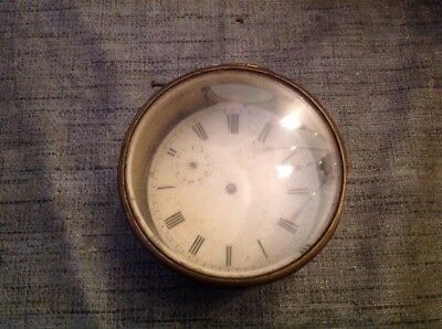 Antique Brass Drum Clock Case Unusual Two Glasses For Restoration Spare Parts
