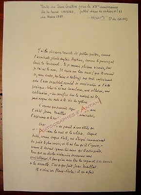 Superbe Manuscrit autographe Jean GUITTON Hopkins Verlaine Valery Gide Pompidou