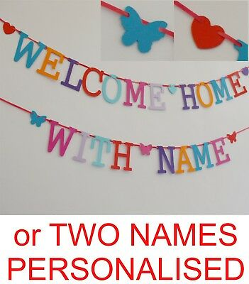 Welcome Home Banner PERSONALISED NAME MULTI colour letters bunting decoration