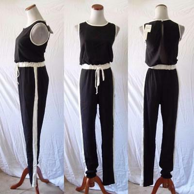 fe62ceeab32 NEW Black & White STRIPE Festival CASUAL Athleisure SPORTY Track JUMPSUIT  Small