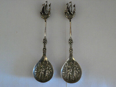 2 Antique Dutch Silver Set Spoons Sailship Boat Soldiers Sword And Vs Hallmarks