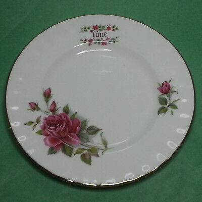 Queensway Fine Bone China Salad Plate JUNE Made in England White gold Trim Flowe