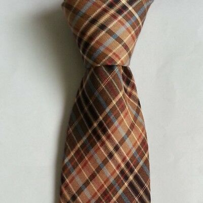 Rooster Men's Dress Tie Brown with geometric pattern