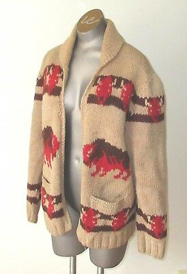 UNISEX Vintage Mary Maxim (cowichan) Bull Sweater L