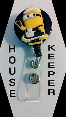 NEW Despicable Me HOUSEKEEPER MAID Minion ID Badge Retractable Reel Handmade