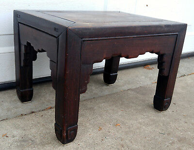 Antique Primitive Carved Chinese Solid Wood Foot Rest Stool Ottoman