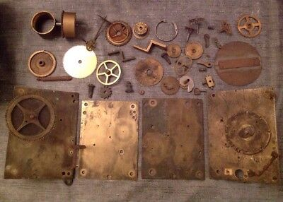 Antique Clock Parts Including Longcase From Clockmakers Spare Parts Chest