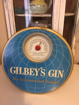 "1960's Gilbey' Gin Thermometer  sign 9"" dia"