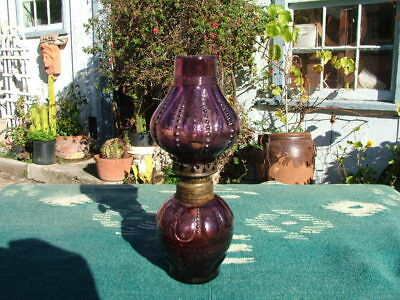Antique Amythyst Purple Beaded  Minature Oil Lamp With Shade