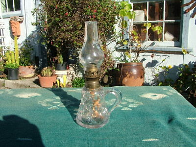 Antique Eapg Miniature Finger  Oil Lamp With Chiminey