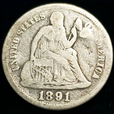 1891 US Seated Liberty Dime .10c Ten Cent .900 Silver Collector Coin 0SLD9160