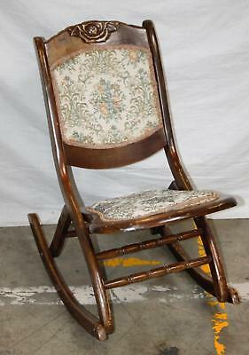Antique Vintage Victorian Era Wood Rocker Blue Green Tapestry Rocking Chair