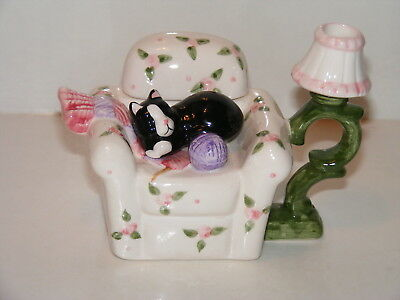 Antique Style Cat On Chair Teapot
