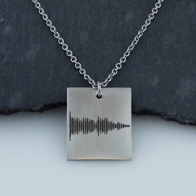 Personalized Sound Wave Square Necklace - Stainless Steel - Audio File Heartbeat