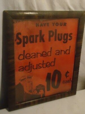 1954 Antique Firestone Plug 10c Cleaned Sign Auto Parts Store Gas Station